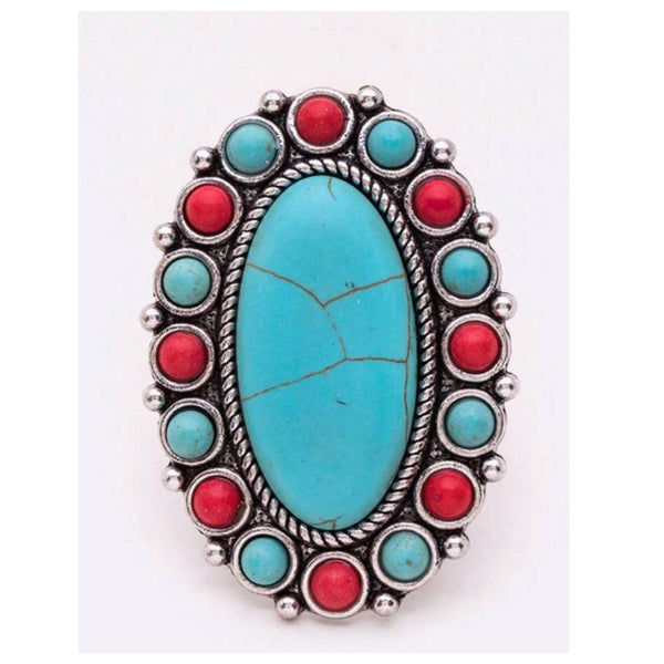Oval Iconic Turquoise, Deep Coral Stone Ring