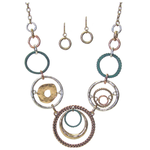 MultiColor Disc Link Necklace Set