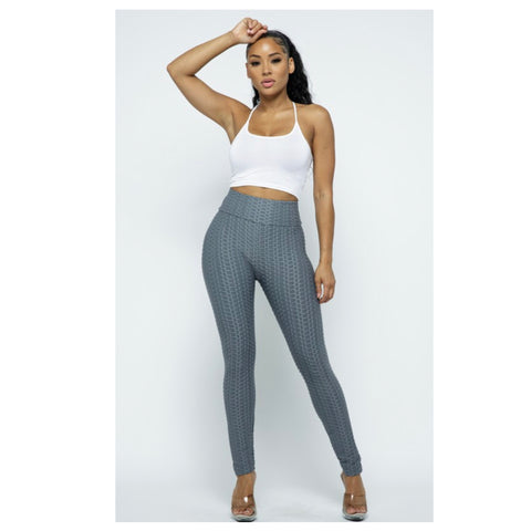 "Bootylicious ""Tik Tok"" Honeycomb Charcoal Yoga Leggings"