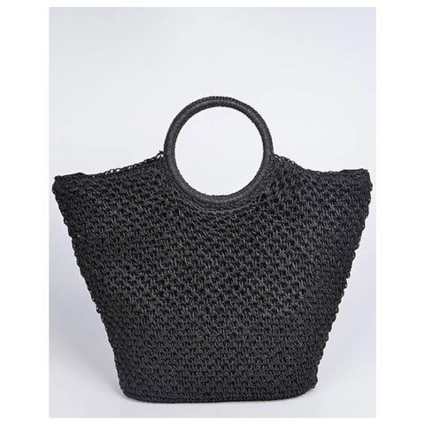 Simply a Must! Straw Cross Basket Bag - Black