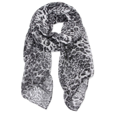Classic Oblong Grey Leopard Scarf