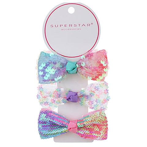 Adorable Sequin Hair Bow Clips - Set of 3