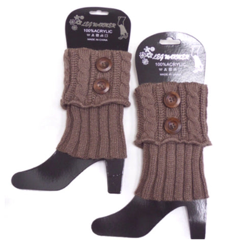 Dual Button Khaki Brown Boot Topper, Boot Cuffs - Cheryl's Galore and More