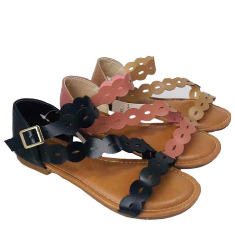 INSANITY CLOSEOUT! Adorable Me, Scalloped Edge Buckle Strap Sandals