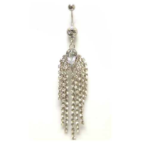 Eye Catching Rhinestone Shimmering Waterfall Belly Ring - Cheryl's Galore and More - 1