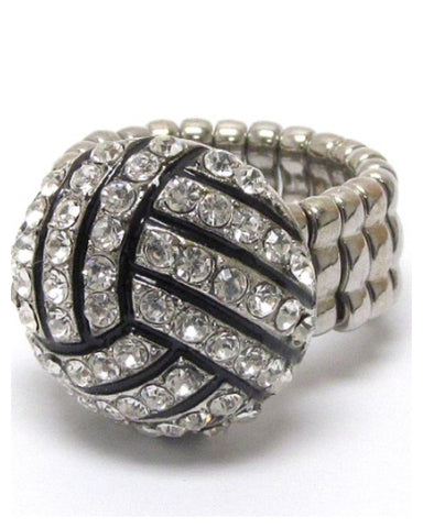 "Crystal ""Bling"" Rhinestone Volleyball Ring - Cheryl's Galore and More"