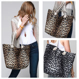 Leopard Print Beach Tote Bag-Brown or Grey