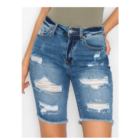 Crazy Cozy Medium Blue Denim Destroyed Bermuda Shorts