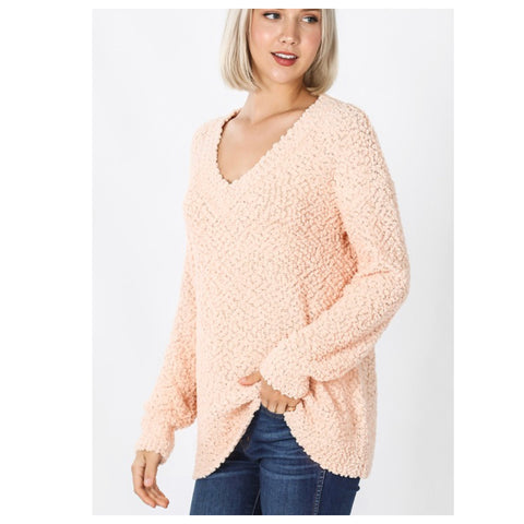 Casually Classy Peach V Neck Popcorn Sweater