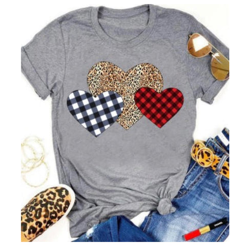 Be Mine, Triple Heart Leopard Buffalo Plaid Grey Tee Top