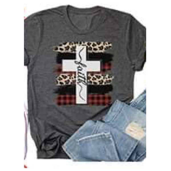 Adorable Leopard, Buffalo Plaid FAITH Cross Grey Top