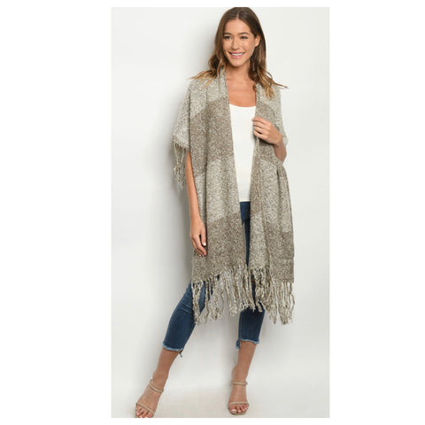 Stunning Pepper Knit 2-Tone Taupe Fringe Trim Poncho