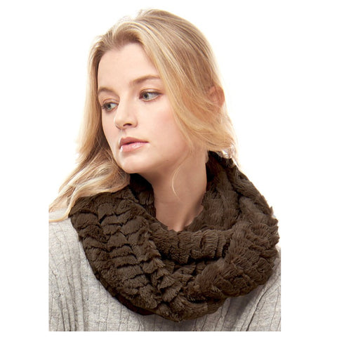 Silky Fluffy Soft Brown Faux Fur Infinity Scarf