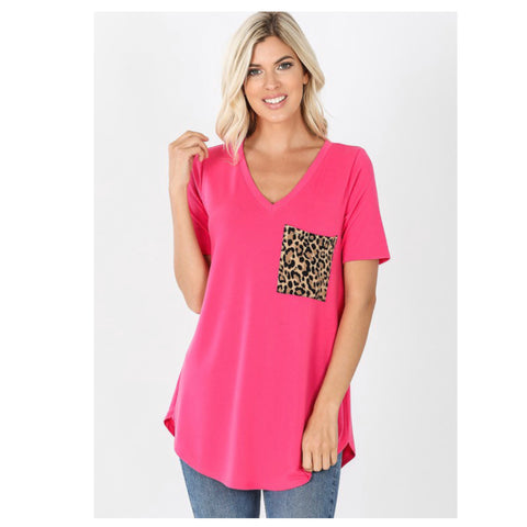 Adorable V Neck Leopard Pocket Top - Fuchsia