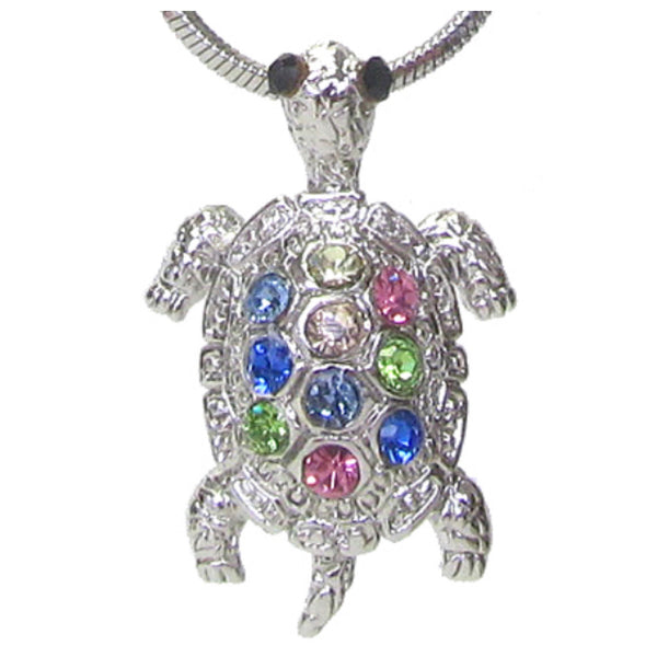 Adorable Pastel Crystal Turtle Whitegold Necklace