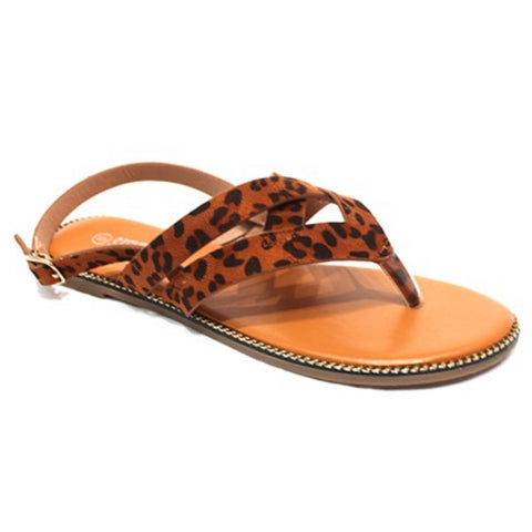 Criss Cross Buckle Strap Leopard Sandals