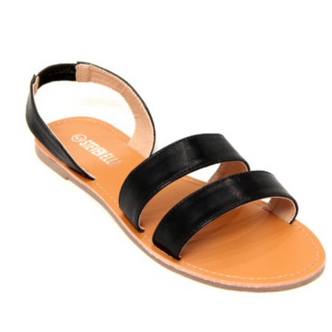 CRAZY CLOSEOUT! Cute Double Wrap Back Strap Sandals - Black