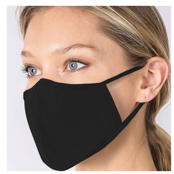 Keeping it in Style! Solid Black Face Mask with Filter Pocket