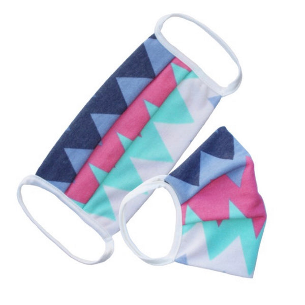 Keeping it Fashionable - Pink Mint Jagged Print Face Masks - Covid 19