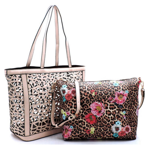 2 in 1:  Laser Cut Out Beige Leather Shopper and Leopard Cross Body Bag
