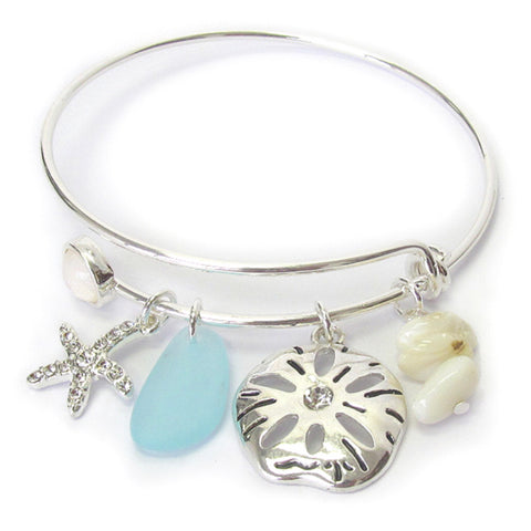 Starfish Charm Silver Wire Bangle Bracelet