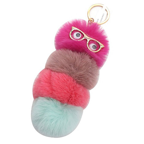 Cute Puffy Puff Bookworm Keychain Purse Charms