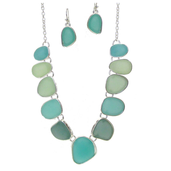 Beautiful Mixed Sea Glass Link Necklace Set