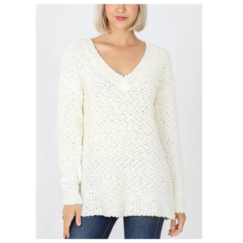 Casually Classy Ivory V Neck Popcorn Sweater