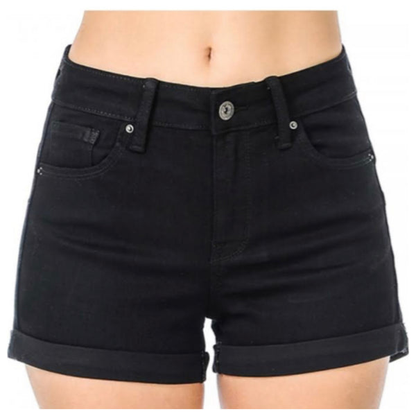 Classic High Rise Black Denim Shorts