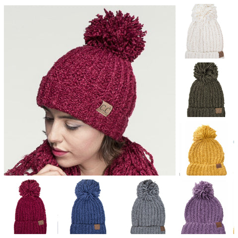 SANTAS LITTLE HELPER SPECIAL! Adorable Chenille Puff Pom CC Beanie Hat
