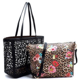 2 in 1:  Laser Cut Out Black Leather Shopper and Leopard Cross Body Bag