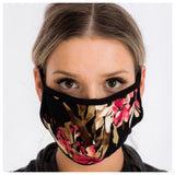 Black Floral Face Masks - Covid 19