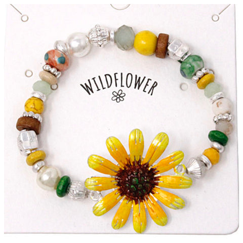 Marbled Bead Mix Yellow Wildflower Bracelet