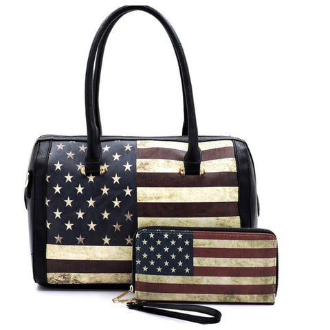 American Pride-Rustic American Flag Black Purse Wallet Set