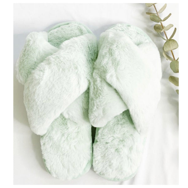 Pamper Your Feet, Faux Fur Sage Slippers