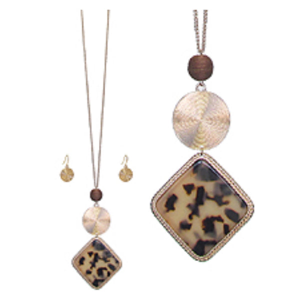 Organic Tortoise Shell Long Pendant Necklace Set