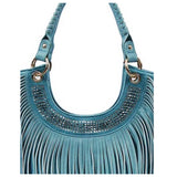 Studded and Fringe Detail Blue Leather Purse