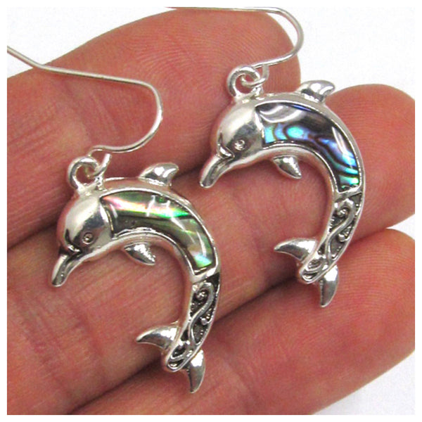 Adorable Abalone Dolphin Sea Life Earrings