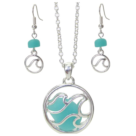 Unique Floating Sea Glass Silver Necklace Set