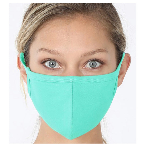 Keeping it in Style! Solid Mint Face Mask with Filter Pocket