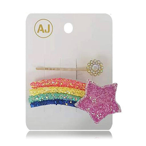 Adorable Girls Puffy Star and Rainbow Hair Set - 5 Colors