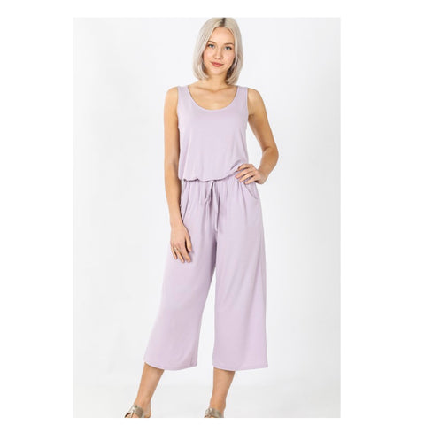 Adorable Sleeveless Capri Jumpsuit - Ash Lavender