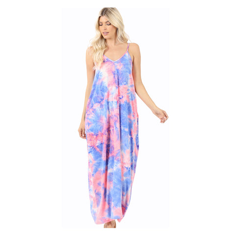 Stunning Cotton Candy Tiedye V Neck Cami Maxi Dress with Pockets