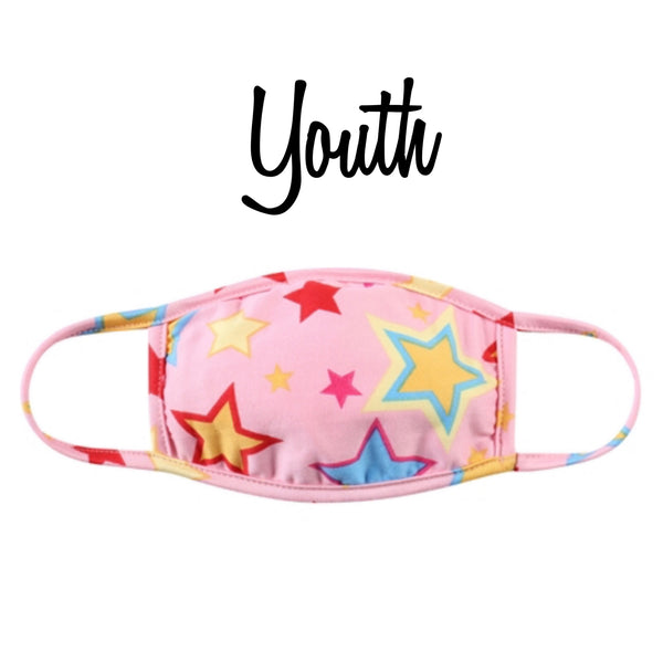 Youth Solid Pink Stars Face Masks - Covid 19