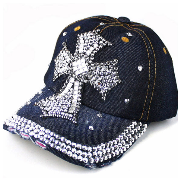 Distressed Bling Cross Blue Denim Hat