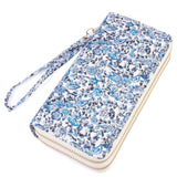 Blue Floral Thick Faux Leather Dual Side Wallet