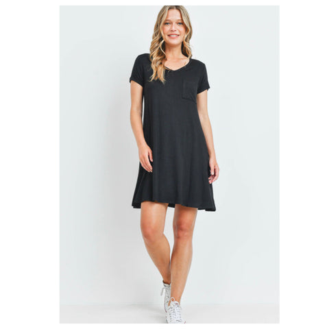 Cozy Cute V Neck Black Tunic Dress