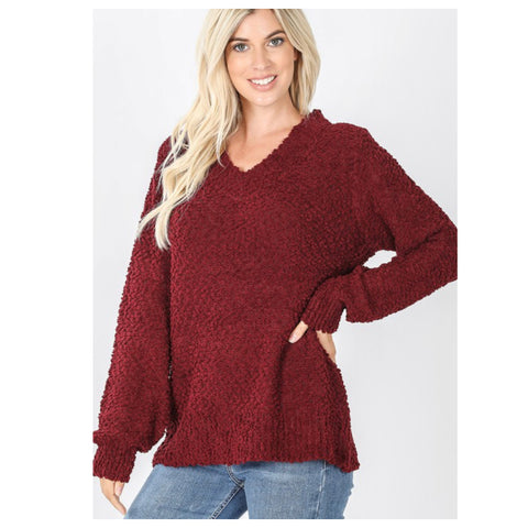 Cozy Balloon Sleeve V Neck Burgundy Popcorn Sweater