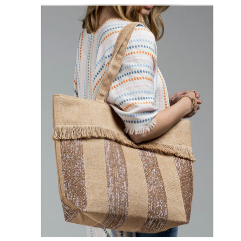 Ruggine Basket Weave Striped Tote with Fringe