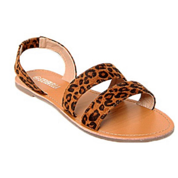 CRAZY CLOSEOUT! Cute Double Wrap Back Strap Sandals - Leopard